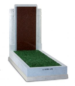 Italian White Marble & Ruby Red Granite Headstone with Green Chippings - ES15C